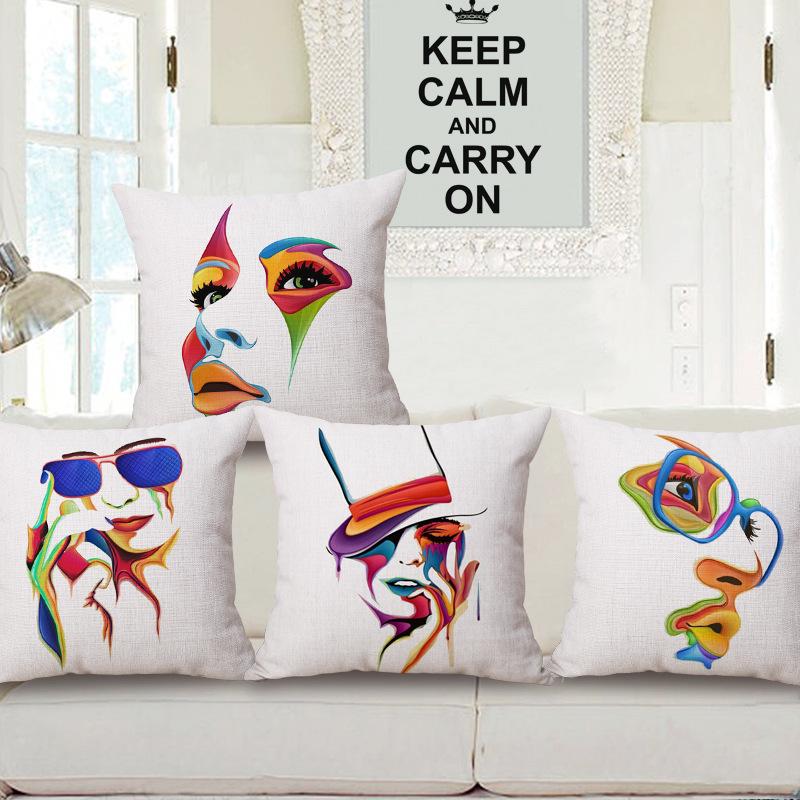 45cm 200g Bright Color Face Pop Thick Fashion Cotton Linen Throw Pillow Hot Sale 18 Inch New Home Decor Sofa Back Cushion MQQ