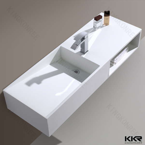 Solid Surface Bathroom Sink: Commercial Double Solid Surface Bathroom Sink