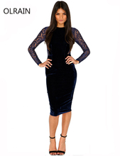 Womnes Sexy Evening Blue Lace Velvet Midi Bodycon Dress Party Pencil Dress