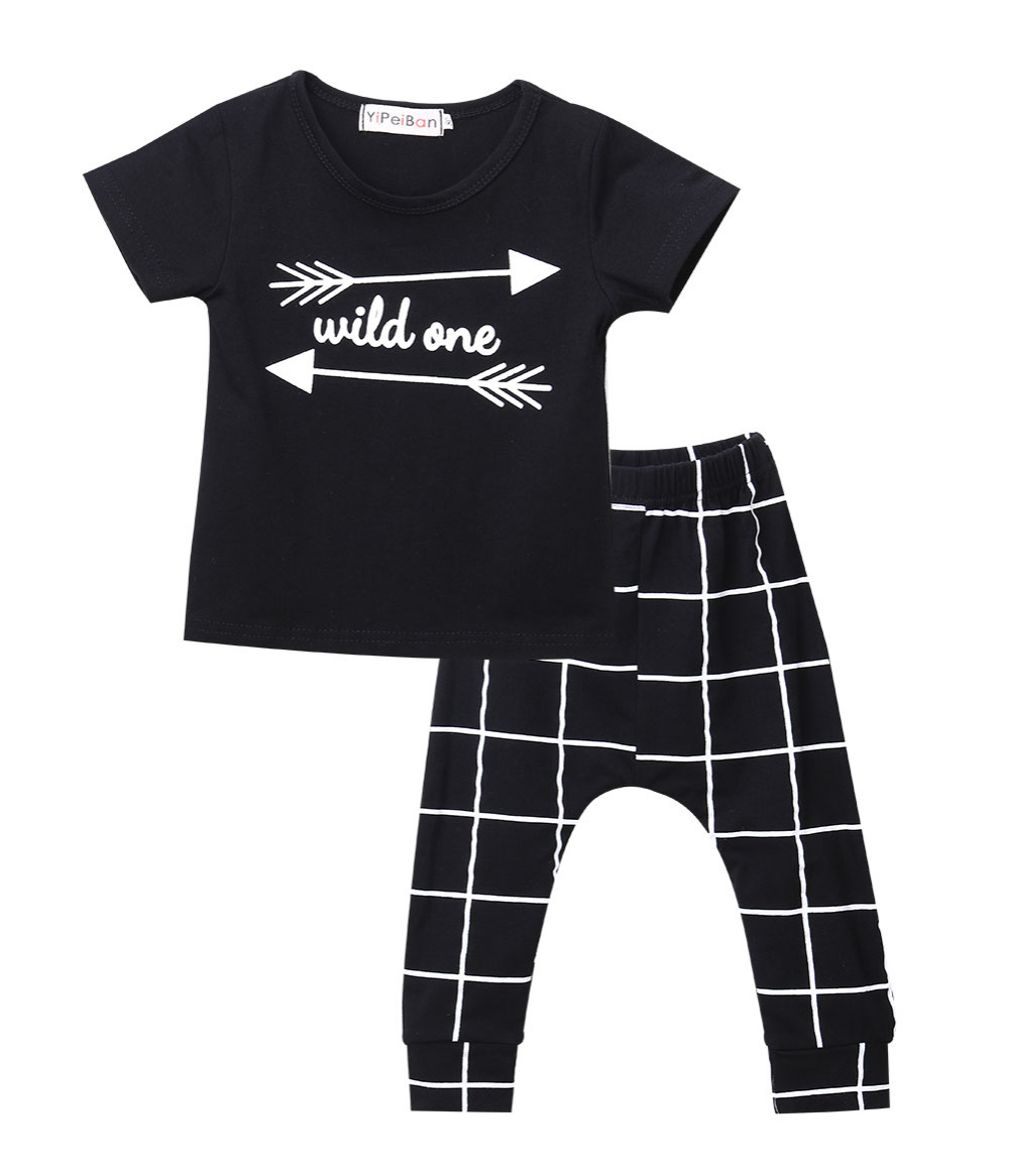 2016 summer baby boy clothes fashion cotton short sleeved letter t-shirt+ plaid pants baby boys clothing set infant 2pcs suit