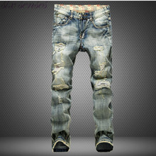 Big Size 42 European Style Men Jeans Famous Brand Holes Frazzle Jeans Mens Casual Leisure Denim Long Pants Light Blue SL0293