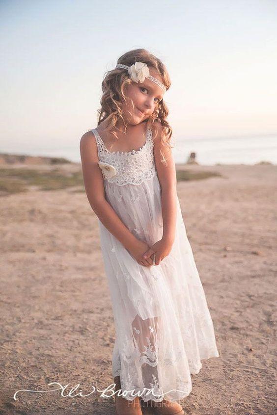 Casual Flower Girl font b Dresses b font For Wedding Spaghetti Strap Floor Length Boho Beach