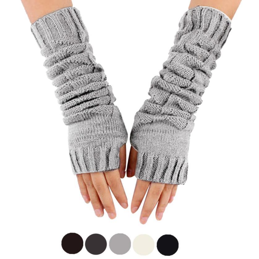 Women's Winter Knitting Mittens Women Fingerless Arm