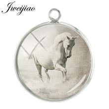 JWEIJIAO Черная лошадь животное подвески Шарм для брелок аксессуары стеклянный кабошон купол модные ювелирные изделия A20(Китай)