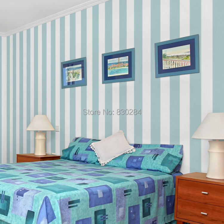 Stripe Wallpaper Roll White Striped Wall Paper Modern Blue