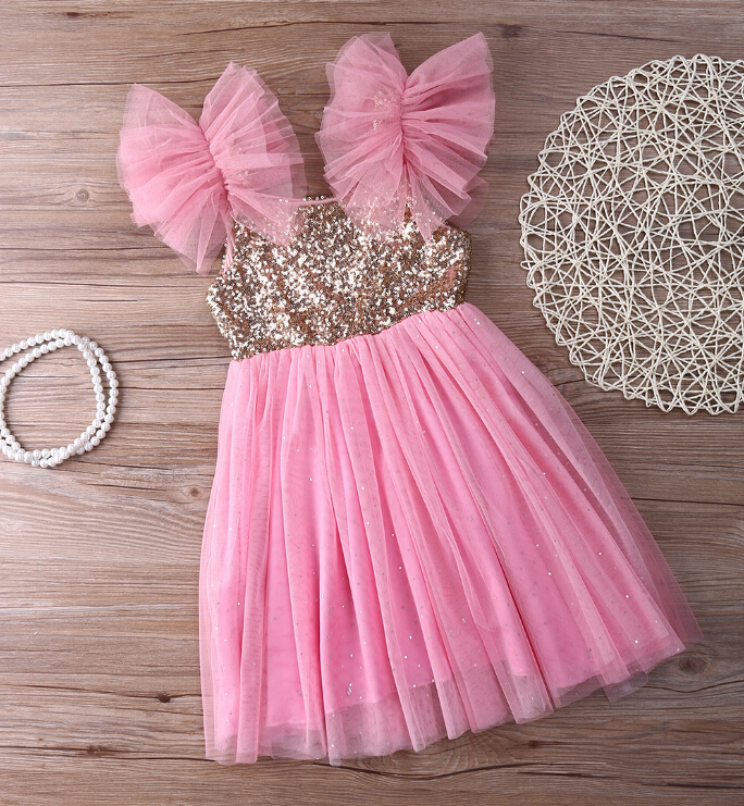 New Bling Pinks Princess font b Children b font Baby Girls Clothing font b Dress b