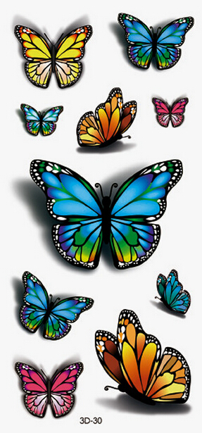 3d butterfly tattoos 2015 fashion women one waterproof. Black Bedroom Furniture Sets. Home Design Ideas
