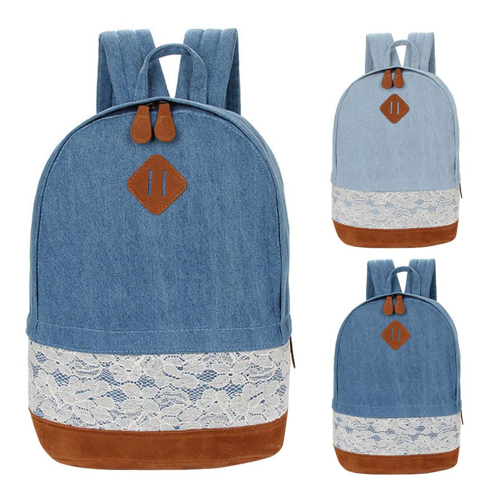 72c923049d Wholesale New Women Fresh Denim Lace Backpack Girls Teenager School ...