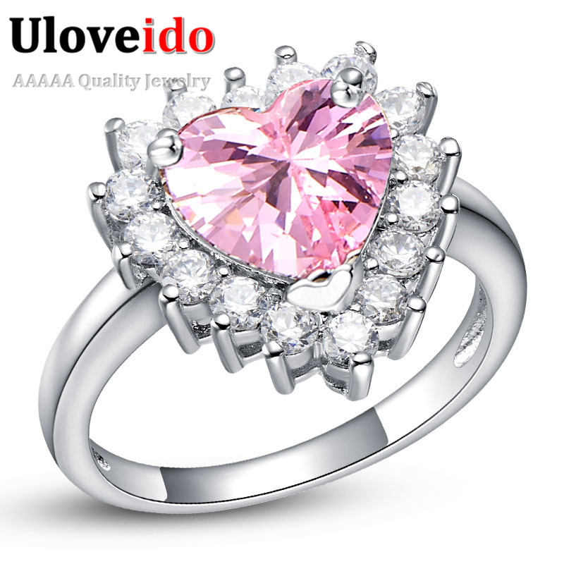 Big Wedding Rings Best Photos: Heart Big Wedding Rings For Women Silver Plated Simulated