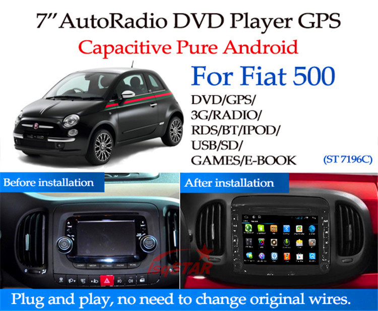 pure android 4 4 fiat 500 car dvd player with dvd bluetooth radio gps 3g wifi android obd mirror. Black Bedroom Furniture Sets. Home Design Ideas