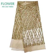 Зеленая кружевная ткань с блестками 2020 высокое качество Африканское вечернее платье ткань новая Нигерия расшитая блестками сетчатая круже...(Китай)