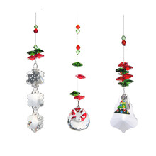 3PC/lot Christmas Snowflake tree Ball Glass Crystal Chandelier Part Prism Hanging Pendants Suncatcher Christmas Tree Decorations