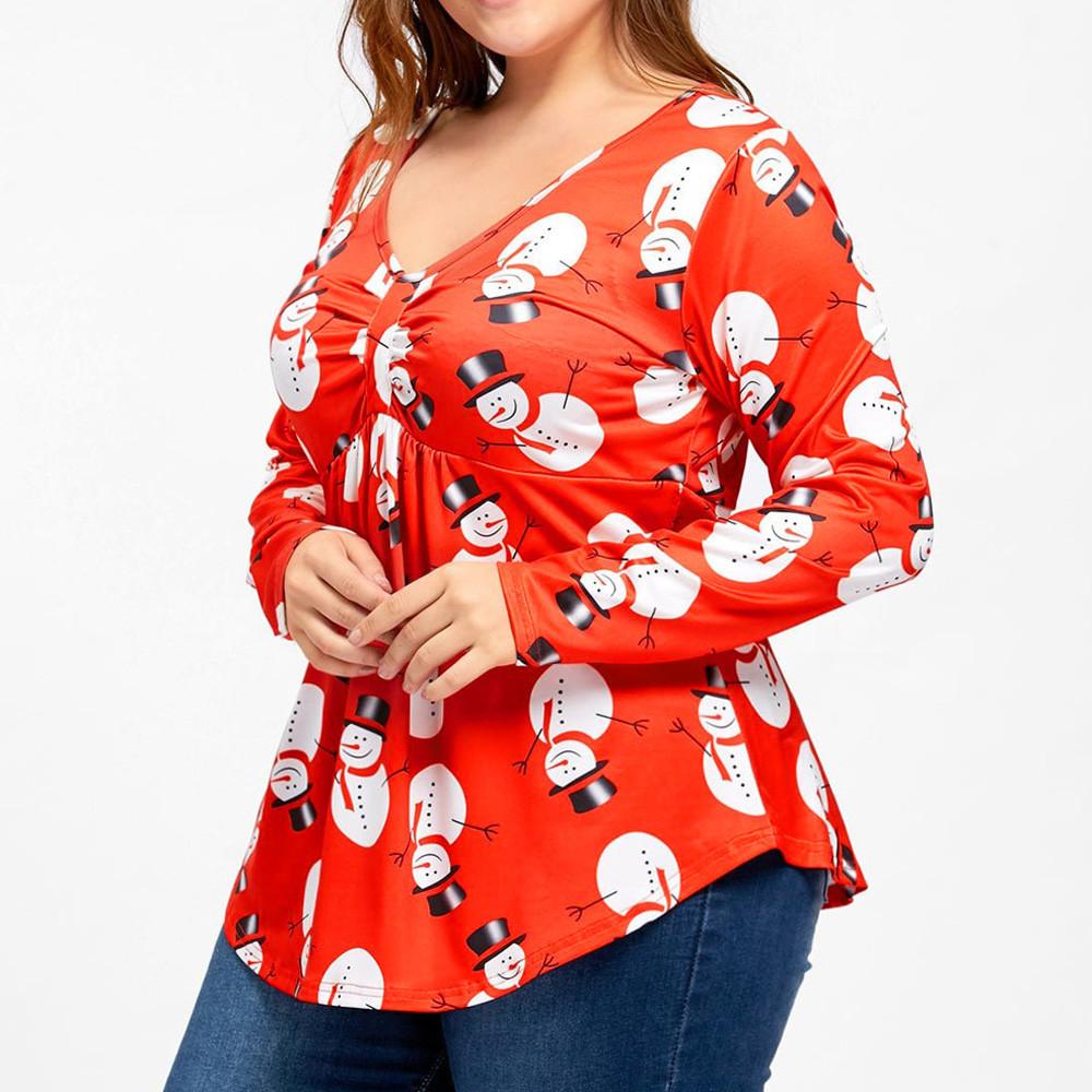 70b371c2e71ce FeiTong Casual T Shirt Women Plus Size O Neck 2019 Christmas Snowman ...