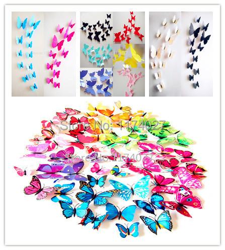 livraison gratuite 12 pcs pvc 3d papillon d coration murale mignon papillons stickers muraux art. Black Bedroom Furniture Sets. Home Design Ideas