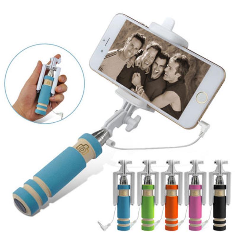 Мини ручной Selfie палка проводной монопод выдвижная для iPhone андроид Xiaomi смартфон F3079