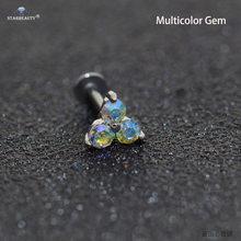 16G 6/8 мм сексуальный тройной драгоценный камень, пирсинг для носа, пирсинг для носа, Пирсинг Labret Helix, пирсинг для губ, носовое кольцо, хрящи, се...(China)