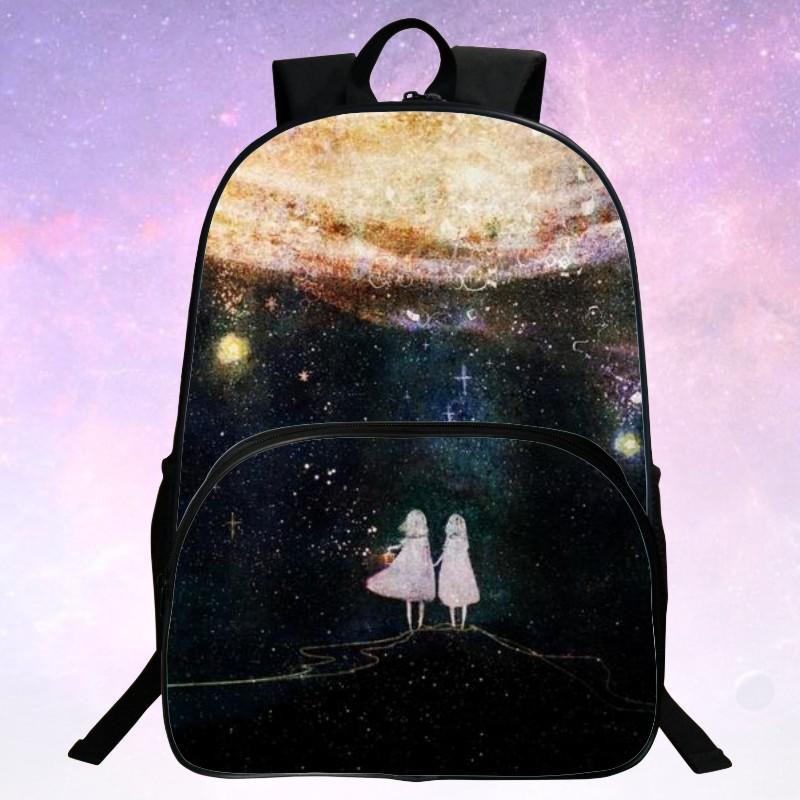 Cool Hot Sale Polyester 100% Prints Starry Sky Black Children Shoulder Bags Kids School Bags For Teenagers Mochila