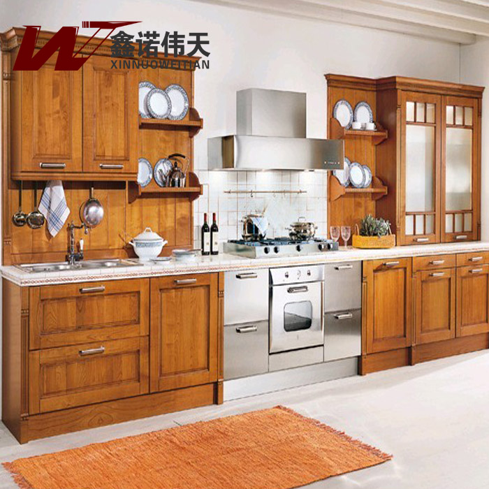 Fashion Rustic Modular Kitchen Cabinet Oak Customize Solid