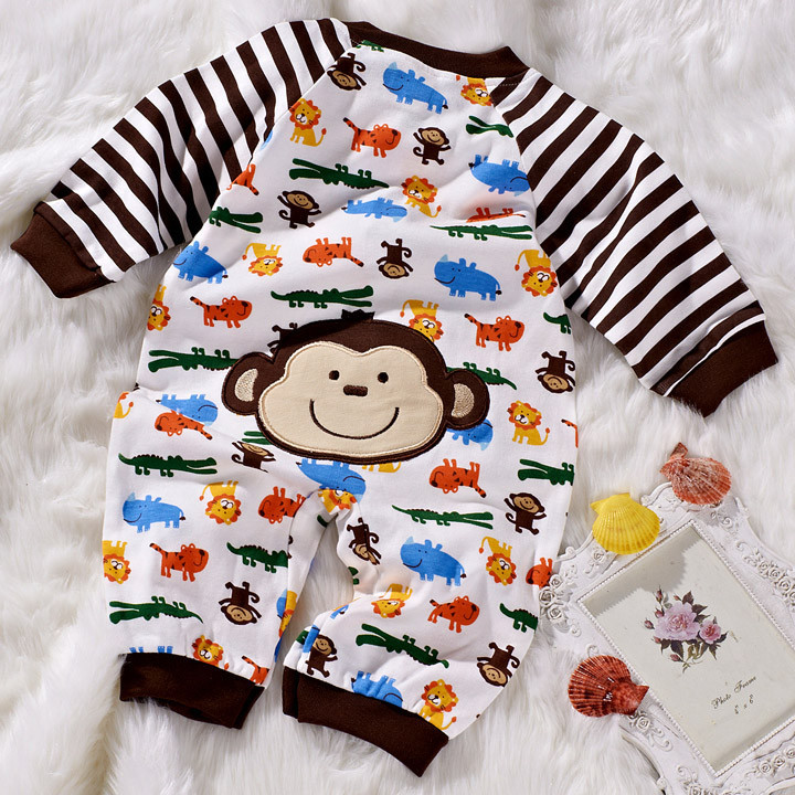 Long-Sleeve Baby romper newborn clothing infant Ultrasoft clothes jumpsuits With Rabbit/Panda/monkey Rompers
