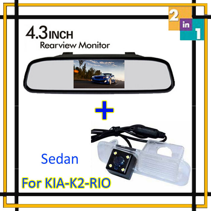 Парковочная система высокого разрешения 4.3 цвет автомобиля заднего вида обратный монитор зеркала + камера для K2 рио седан помощи при парковке