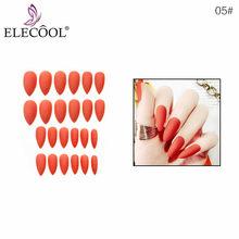 Длинные матовые накладные ногти ELECOOL, 10 однотонных гелевых насадок для наращивания ногтей, искусственные накладные ногти, 24 шт.(Китай)