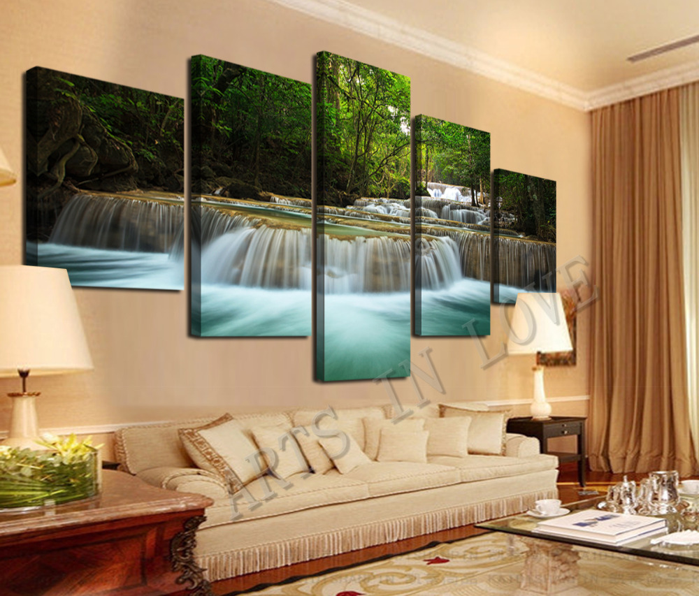 5 panel waterfall painting canvas wall art picture home decoration living room canvas print. Black Bedroom Furniture Sets. Home Design Ideas