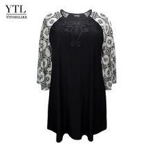 YTL платья размера плюс для женщин 4xl 5xl 6xl 7xl 8xl черное вязаное платье-туника с длинными рукавами и цветочным рисунком свободное платье большог...(Китай)