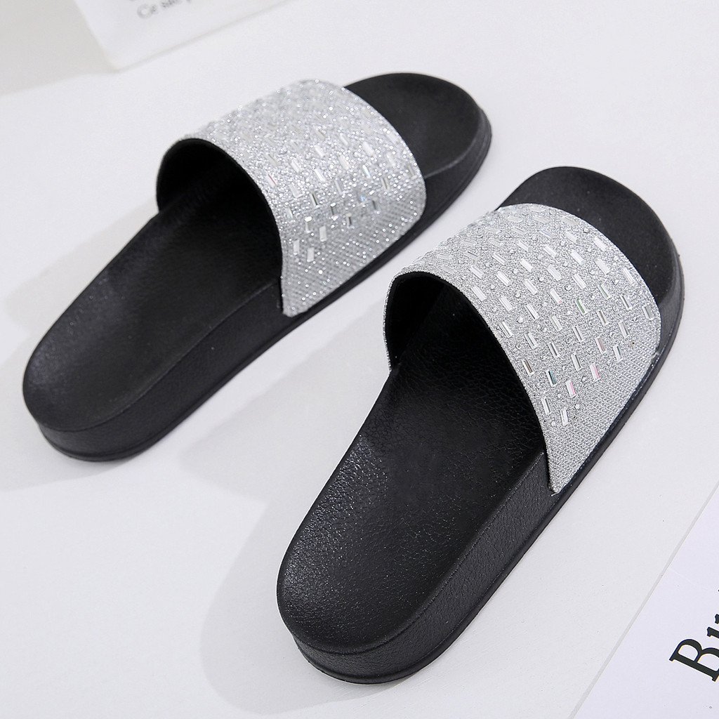 277a7827973cb 2019 Women'S Slippers Summer Beach Casual Shoes Sequins Flat Heel Soft  Slipper Non Slip Rhinestone Shoe Mujer Slides Outdoor Comfortable Shoes Shoe  Shops ...