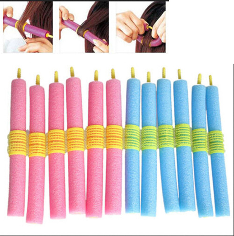 12pcs/set Soft Foam Anion Bendy Hair Rollers Curlers Cling ...