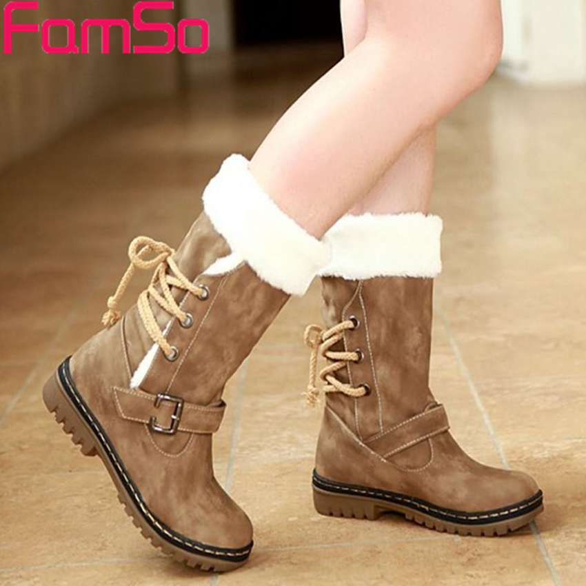 Free shipping 2016 Women Winter Snow Boots Buckle thick