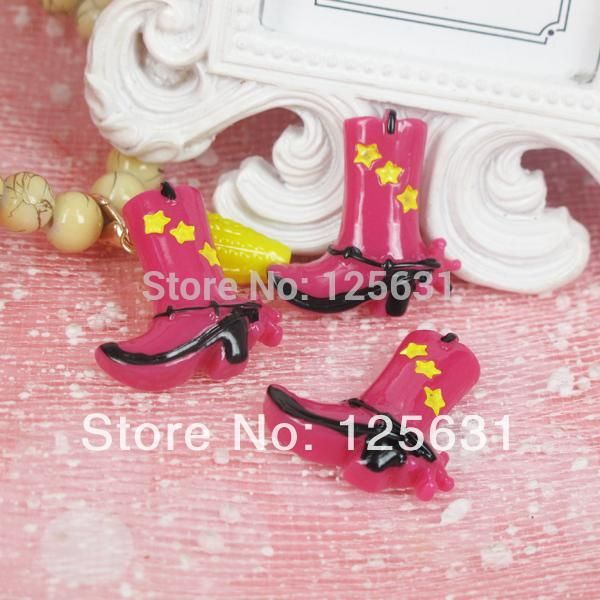 Free shipping! Mixed style Min.order 15USD Size 25*30mm kawaii flat back western cowgirl pink boots resin cabochon crafts charms