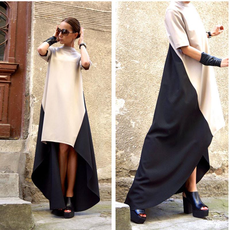 2015 новых леди улица нерегулярные подол лоскутное осень платье асимметричный хвост макси платье свободного покроя ну вечеринку женщины длинное платье Vestidos
