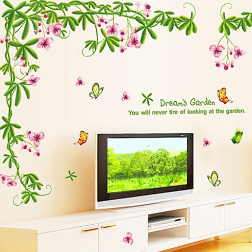 1214 Large bedroom warm and romantic decoration living room TV background wall stickers removable stickers dorm room decor