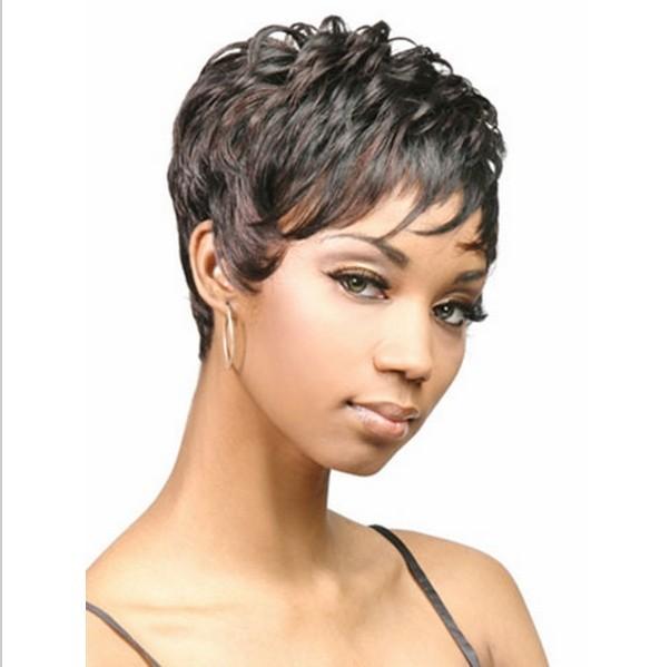 W11 синтетический короткая парик для черный женщины жаропрочный естественная волос с челкой вырезать эльфа прическа парики Pelo Corto