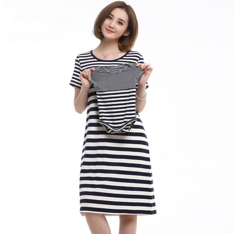 buy one get one free Stripeed Short Sleeve Pregnant dress Breastfeeding baby nursing Dress Hide opening