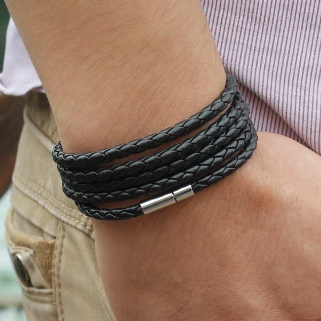 New Style 2015 Latest Popular 5 Laps Leather Bracelet Men Charm Vintage Black Bracelet Free Shipping
