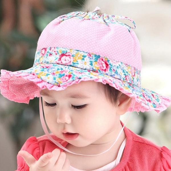 Summer style pretty baby girl bucket hat Wide brim ...