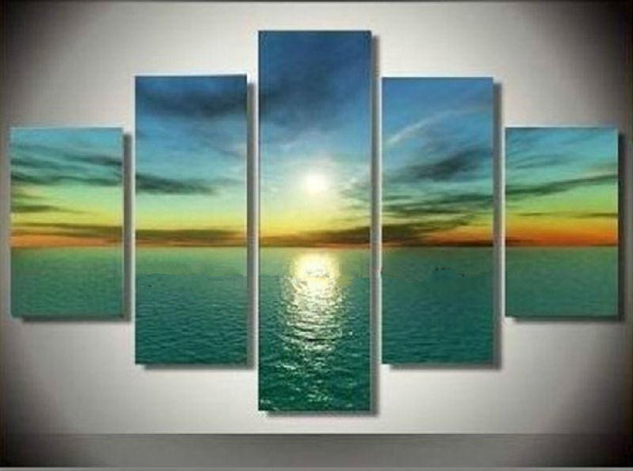 Framed Hand Paint 5 pieces beach sea oil painting canvas art home decoration wall art oil painting Free shipping/sa-8031