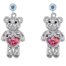 Cristal del corazón cuelga los pendientes oso joyería hecho con genuino elementos de Swarovski regalos para mujeres Bijoux niños pendientes 5 colores