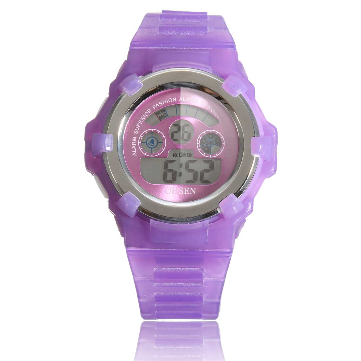 OHSEN Boys Girls Children Kids 7 Colors LED Back Light Digital Multifunction Military Sports Watches Jelly Silicone Wrist Watch