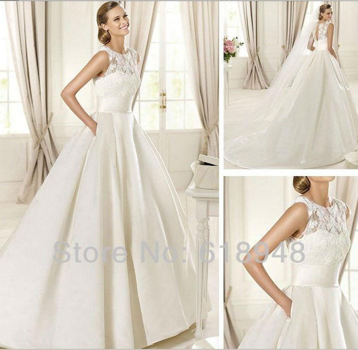 Wedding Dress Lace Top Silk Bottom