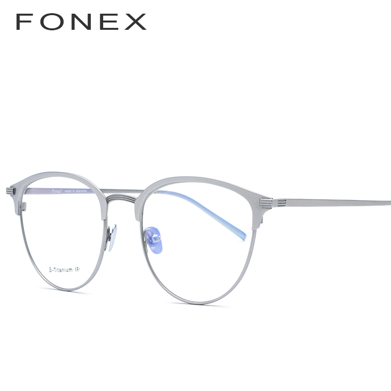 Мужские Круглые очки FONEX Pure B из титана, круглые очки по рецепту при близорукости, оптические очки с керамической носовой накладкой(Китай)