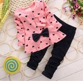 2016 Spring Baby Girls Suit New Cotton Fabala Bowknot Hearts Printed Children Suit