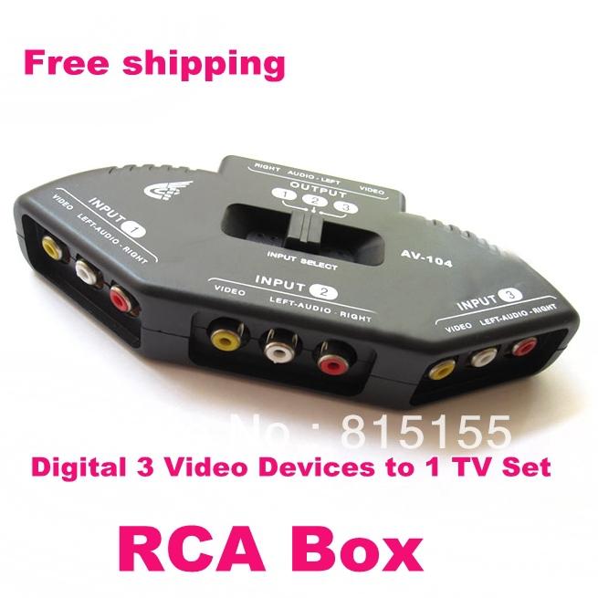 digital 3 video devices to 1 tv set black av rca multi box connector adapter for tv dvd nintendo. Black Bedroom Furniture Sets. Home Design Ideas