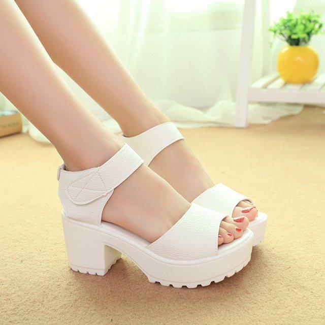 2015 summer Gladiator for women s sandals velcro open toe sandals female thick heel platform wedges