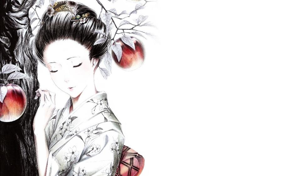 Living room bedroom <font><b>home</b></font> wall <font><b>decoration</b></font> fabric poster anime <font><b>asian</b></font> oriental artistic women females girls kimono fantasy