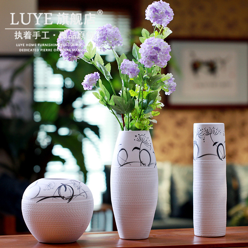 Jingdezhen ceramic flower vase Home Furnishing minimalist white painted floral handmade Vase Decoration living room set
