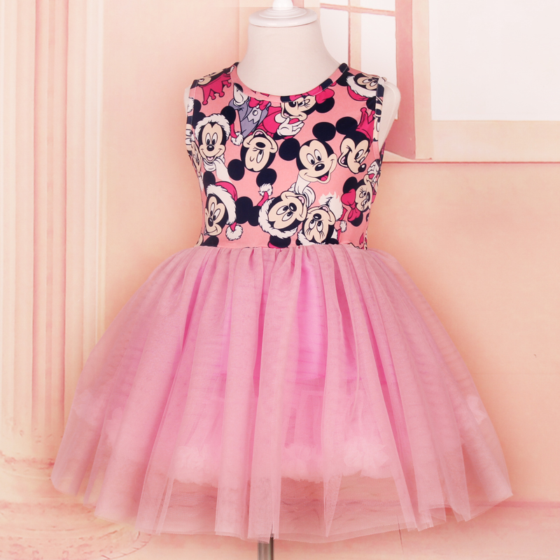 2016Summer Girl Dress Hello Kitty Minnie Mouse Children Clothing Baby girl clothes 2 10 Princess Party