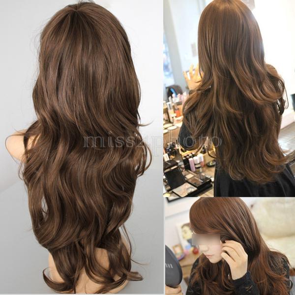 Горячая распродажа темно-русый женщин девушки длинные вьющиеся волосы косплей популярные мода стиль