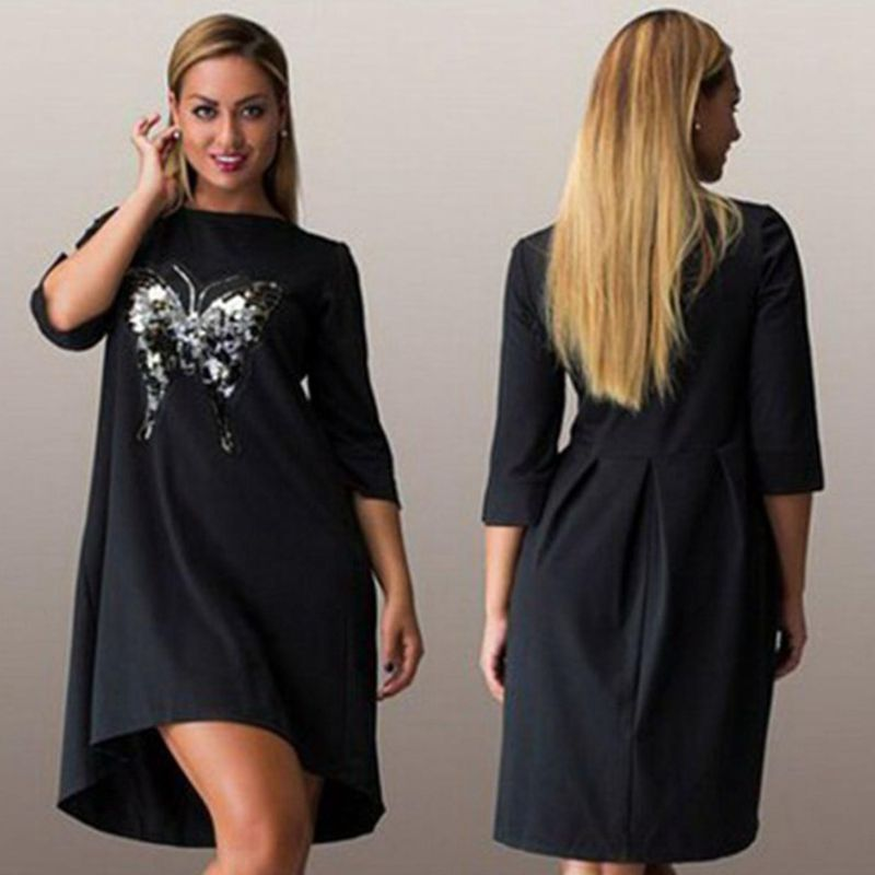1a92073d327e 4XL 5XL 6XL 2016 Plus size Women Dress Autumn Three Quarter Sleeve O-neck  Above